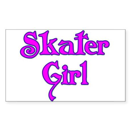 Skater Girl Rectangle Sticker