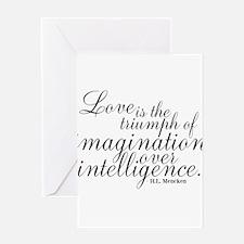 Imagination over Intelligence Greeting Cards
