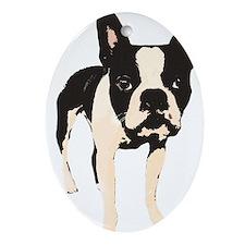 Unique Boston terrier Ornament (Oval)