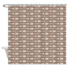 Brown Arrows Pattern Shower Curtain