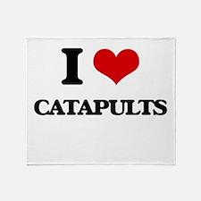 I love Catapults Throw Blanket