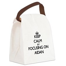 Keep Calm by focusing on on Aidan Canvas Lunch Bag