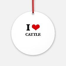 I love Cattle Ornament (Round)