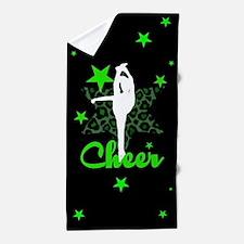 Black and Green Cheerleader Beach Towel
