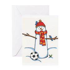 footballerSnowman.jpg Greeting Cards