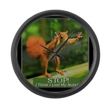 Squirrel Lost His Nuts Large Wall Clock