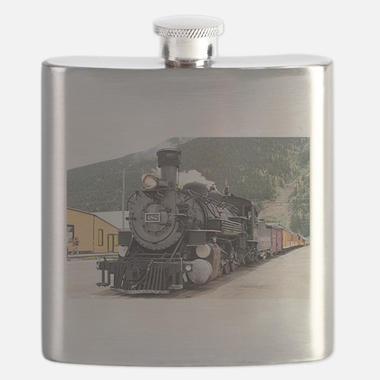 Steam train engine Silverton, Colorado, USA Flask