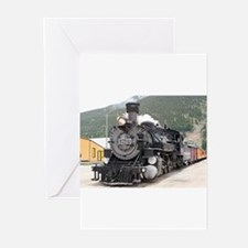 Steam train engine Silverton, Color Greeting Cards