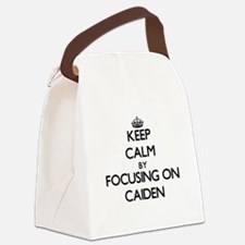 Keep Calm by focusing on on Caide Canvas Lunch Bag