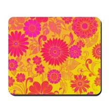 Retro Floral of pink and yellow Mousepad