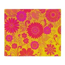 Retro Floral of pink and yellow Throw Blanket