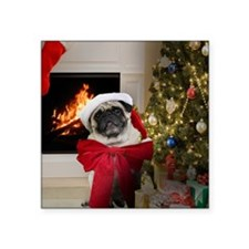 "Misha's Pug Christmas Square Sticker 3"" x 3"""