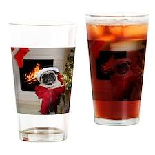 Misha's Pug Christmas Drinking Glass