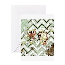 Chevron Owls #1 Greeting Cards