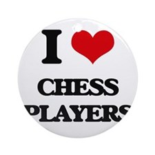 I love Chess Players Ornament (Round)