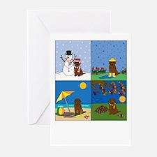 Chocolate Lab Four Seasons Greeting Cards