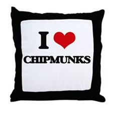 I love Chipmunks Throw Pillow