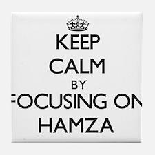 Keep Calm by focusing on on Hamza Tile Coaster