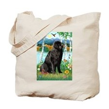 Newfie in the Birches Tote Bag