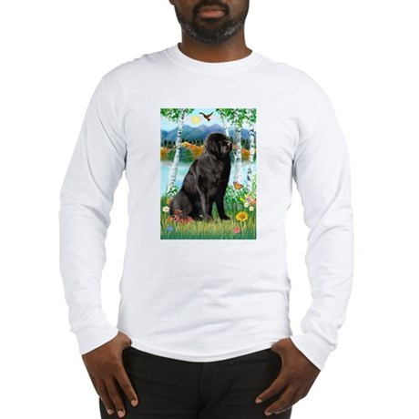 Newfie in the Birches Long Sleeve T-Shirt