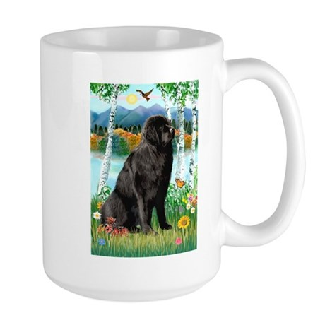 Newfie in the Birches Large Mug