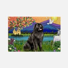 Newfie in Fantasy Land Rectangle Magnet