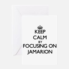 Keep Calm by focusing on on Jamario Greeting Cards