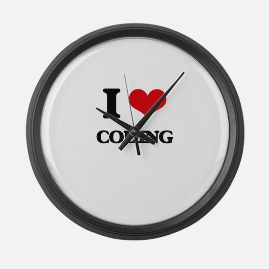 I love Coding Large Wall Clock
