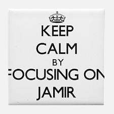 Keep Calm by focusing on on Jamir Tile Coaster