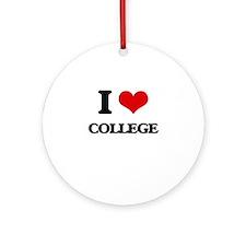 I Love College Ornament (Round)