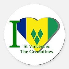 I Love St Vincent & The Round Car Magnet