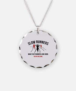 Slow Runners Necklace Circle Charm