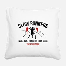 Slow Runners Square Canvas Pillow