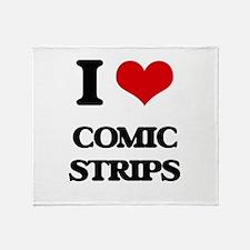 I love Comic Strips Throw Blanket