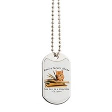 Kitten lost in books Dog Tags