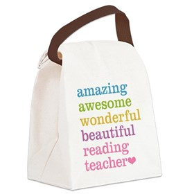 Reading Teacher Canvas Lunch Bag