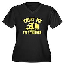 Trust Me I'm A Trucker Women's Plus Size V-Neck Da