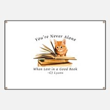 Kitten lost in books Banner