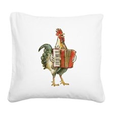 Accordian Playing Chicken Square Canvas Pillow