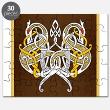 Celtic Dragons Intertwined On Wood Puzzle