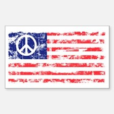 Vintage Peace In America Sticker (Rect.)