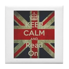 Keep Calm and Read On Tile Coaster