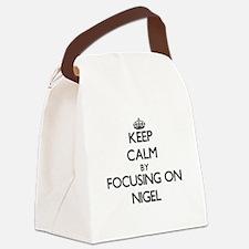 Keep Calm by focusing on on Nigel Canvas Lunch Bag