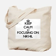 Keep Calm by focusing on on Nikhil Tote Bag