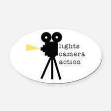 Camera Action Oval Car Magnet