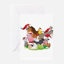 CUTE Farm Animal Christmas Greeting Card