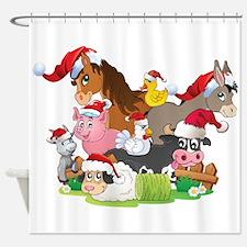 CUTE Farm Animal Christmas Shower Curtain