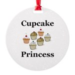 Cupcake Princess Round Ornament