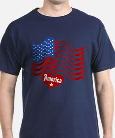 4th Of July Flag Heart T-Shirt