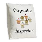 Cupcake Inspector Burlap Throw Pillow